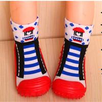 ingrosso i pattini di bambino calzano la gomma soled-5 paia / lotto calzini da pavimento per bambini piccoli calzini per bambina ragazzo fondo morbido calzini antiscivolo per neonati calzini con suola in gomma abbigliamento