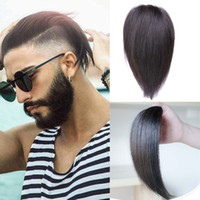 Wholesale human hair men toupee black resale online - 100 Human Hair Short Toupee Man Wig Full Lace Wigs Straight Hair Lace Frontal Wigs Human Hair Wig Natural Black Men s Hairstyle