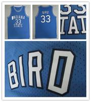 mejores camisetas de baloncesto azul al por mayor-Mejor cosido Estado de Indiana Sycamores # 33 Larry Springs Valley Negro Alma alero Escuela de Baloncesto jerseys pájaro azul Jersey ISU masculino