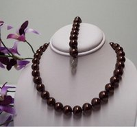Wholesale 14mm pearl sets for sale - Group buy FREE SHIPPIN Rare Rich Chocolate Color mm Pc South Sea Shell Pearl Necklace Bracelet Set