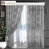 cortinas aduaneiras venda por atacado-Cortinas 1 estilo PC NAPEARL Europeia tecidos Jacquard de cortina para varanda Janela sala estilo europeu cortina cinzenta