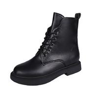 botas altas negras para niñas al por mayor-Hasta Negro Aleafalling invierno de las mujeres botines de encaje simple Zapatos de cuero suave de alta del tubo de la muchacha para el invierno Autunmn Botas