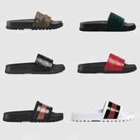 Wholesale leather men sandal resale online - 2019 men women slipper Gear bottoms Flip Flops women slide sandals slippers Floral brocade printing women striped Beach causal slipper