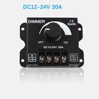 luzes de tira led interruptor dimmer venda por atacado-Diodo emissor de luz interruptor dimmer 12-24 v 30a 360 w brilho ajustável única cor dimmer lâmpada led controlador de luz de tira