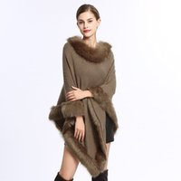 пуловеры из меха оптовых-Women Faux Fur Batwing Sleeve Knit Sweater Round-Neck Faux Fur Coat Ponchos And Capes Pullovers