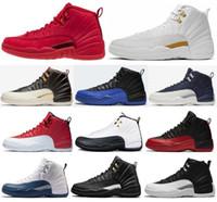 chaussures de basket rouges pour hommes achat en gros de-Haute Qualité 12 12s OVO Blanc Gym Rouge WNTR Le Maître Chaussures de Basketball Hommes Taxi Jeu De La Grippe Français Bleu CNY Baskets Avec Boîte