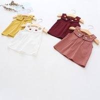 Wholesale fashion baby clothes online - baby girl clothes Sleeveless Round collar with Cloud Embroidery shirt kids causal cotton girl Summer causal T shirt