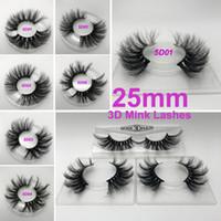 ingrosso natural false eyelashes-Ciglia 100% 25mm 3D Cigli di visone Ciglia finte Incrociato Ciglia finte naturali Trucco Ciglia finte 3D Extension Ciglia