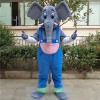 Wholesale theme dress adults resale online - Adult size Cartoon Gray Elephant mascot Cute Wear suspender trousers Elephant Custom fancy costume kit mascotte theme fancy dress carniva co