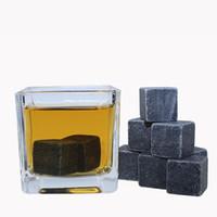 bierwürfel großhandel-Kühler Whisky Rock Speckstein Whisky Stones Eisblock Wein Eiswürfel 9pcs / set Eis Mit BoxDRINK KÜHLEN SCHMELZEN, BIER FELSEN