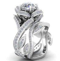 anillo de amor de diamantes de imitacion al por mayor-Plateado anillos de amor de cristal de moda Rhinestone anillo de alta calidad rosa anillos de diamante para los amantes del regalo envío gratis