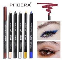 Wholesale 1lot PHOERA Brand Colorful Eyeliner Pencil Waterproof Pen Long lasting Liquid Eye Liner Colors Cosmetics Smooth Makeup Tool