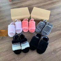 pembe sandalet kadınları toptan satış-Kadın Kürklü Terlik Avustralya Kabartmak Evet Slayt Designercasual Ayakkabı Çizme Moda Lüks Tasarımcı Kadın Sandalet Kürk Terlik Terlik