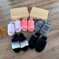 ingrosso scarpa australia-Pantofole pelose da donna Australia Fluff Yeah Slide Scarpe da design di moda Stivali Fashion Luxury Designer Sandali di pelliccia Pantofole