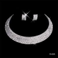 conjuntos de brinco de colar de festa nupcial venda por atacado-150-35 Encantador Conjuntos De Noiva De Casamento Acessórios de Jóias Colar Brinco Set Partido Jóias para Festa de Casamento Da Noiva
