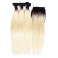 Wholesale kiss hair color for sale - 3 Bundles Deals Color T B Blonde Virgin Hair Silky Straight Ombre Black Blonde Peruvian Indian Hair Weave Bundle Kiss Hair Fashion