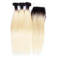 sarışın siyah bakire saç toptan satış-3 Demetleri Fırsatlar Renk T 1B 613 Sarışın Bakire Saç Ipeksi Düz Ombre Siyah Sarışın Perulu Hint Saç Örgü Paket Öpücük Saç Moda