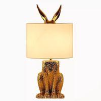 chinesische lampe blau weiß groihandel-Promotion 110V Goldene Animal Design Tischlampen Stoff Lampenschirm Nachtlichter Lampe Einfache Lesung Kleines Nachtlicht Resin Tischlampe