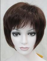 color de pelo castaño corto al por mayor-Envío de peluca Dark Auburn Short Women Ladies Daily Hair Wig