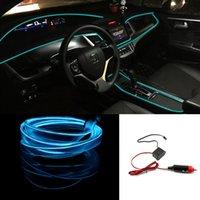 esnek düz şerit ışıklar toptan satış-Sıcak 2 M Auto Car İç LED EL buz mavi Tel Halat Tüp Hattı esnek neon ışık glow el salon düz 12 V şerit Yolu Aydınlatma