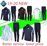 olímpicos camisa homens venda por atacado-2019/20 Olympique de Marselha Treino de Futebol Jogging Futebol Casaco Calças Sports Training Suit THAUVIN PAYET 19 20 Homens Camisa pólo de futebol