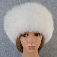 Wholesale leather earmuffs resale online - Russian leather bomber leather hat men winter hats with earmuffs trapper earflap cap man real raccoon fur black fox hatska