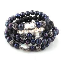 hermosa pulsera de perlas negro al por mayor-Fashion Beautiful 5pc set Brazalete negro / blanco Juego Pulseras de hebra de perlas de agua dulce Pulseras hechas a mano