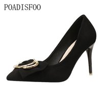 Wholesale sexy bow shoes online - Shoes Korean Fashion Sexy Thin High Heels Female Autumn With High Heel Suede Bow Pointed Pointed ZWM