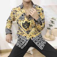 mischen sie hemdmänner großhandel-2019 italienische Casual Mode für Männer Kurzarmhemd Mode Mischfarbe gesticktes Hemd Medusa Hemd