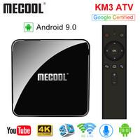 android tv kutusu 5g toptan satış-MECOOL KM3 ATV Androidtv 9.0 Google Sertifikalı Android 9.0 TV Kutusu 4 GB 64 GB Amlogic S905X2 4 K 2.4G 5G Çift Wifi BT4.0 Set Top Box
