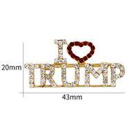 benzersiz broşlar toptan satış-TRUMP Kristal Rhinestones Benzersiz Tasarım Mektubu Broşlar Kırmızı Kalp Mektup