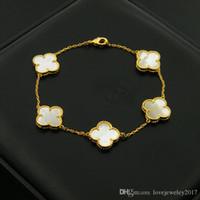 ingrosso braccialetto del trifoglio del fiore-Bracciale trifoglio in acciaio 316L con trifoglio a quattro foglie in agata nera per donna Bracciale in argento con fiore in oro rosa