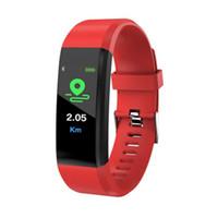 satılık akıllı saatler toptan satış-2019 sıcak satış ID115 Artı Akıllı Bilezik Spor Izci Pedometre Watch Band Nabız Kan Basıncı Monitörü Akıllı Bileklik