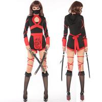 ingrosso giochi di natale giapponese-Masked Warriors Women Pirate Wear Giapponese Black Bushido Ninja Costume di Halloween Carnevale di Natale Cosplay Uniformi
