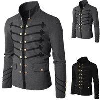 işlemeli askeri ceketler toptan satış-Erkekler Vintage Askeri Ceket Gotik Askeri Parade Ceket Işlemeli Düğmeler Düz Renk Üst Retro Üniforma Hırka Giyim