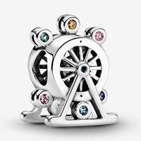 925 silbernes rad großhandel-Amala Sterling Silber 925 bunte Riesenrad-Charme-Korn mit Cz Passend europäischen Pandora Schmuck Armbänder Halsketten-Anhänger