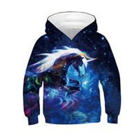 ingrosso cappuccio universo-Fashion Galaxy Colorful Hooded Hoodies Funny Unicorn Horse Universe Star Cloud Felpa stampata Bambina bambino Tops