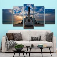 ingrosso pittura di barche art-(Solo Canvas No Frame) 5 Pz Barca a vela Nave Paesaggio marino Immagini Tramonto Wall Art HD Stampa Canvas Pittura Moda appendere le immagini