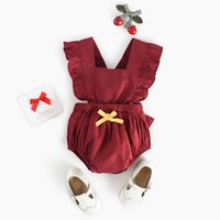 Wholesale drop ship baby clothing resale online - Baby Girls Romper Toddler Backless Ruffle Onesies Newborn Girls Jumpsuit Fashion Toddler Clothes Drop shipping