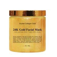ingrosso maschera d'oro facciale-Maschera facciale per donna in cristallo di collagene dorato Maschera facciale in oro 24K staccabile Maschera facciale Pelle idratante Rassodante