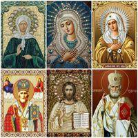 arte de la pared beatles al por mayor-Taladro LZAIQIZG mosaico del diamante completo Icono cuadrado Religión diamante Pintura Virgen María Rhinestone bordado con diamantes