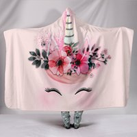Wholesale 3d unicorn bedding online - 30 Styles Unicorn Pattern D Printed Plush Hooded Blanket for Beds Cartoon Galaxy Warm Wearable Soft Fleece Throw Blankets