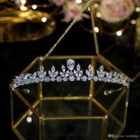coronas de alta gama tiaras al por mayor-Cubic Zirconia joyería de la boda Tiaras de gama alta piedra de la CZ Novias Tiara Noble moda circón corona accesorios nupciales del pelo