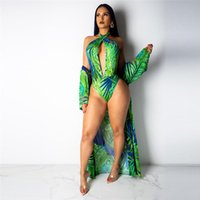 strand outfits frauen großhandel-Frauen Zweiteiler Outfits Strapless Top Halter Backless Overall Bikini + Mantel-Kleid Smock Femme Sexy Beach Print Outfits Sets
