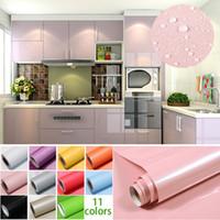 1M / Roll lucida impermeabile in PVC Cabinet carta da parati autoadesiva di  contatto della carta Gabinetto Per Porte Mobili Adesivi Bagno Cucina