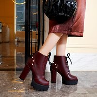 Wholesale wine red platform shoes for sale - Group buy 2019 Autumn Winter Super High Heels Gothic Shoes Platforms Booties Black Wine Red Womens Punk Rock Lace Up Ankle Boots