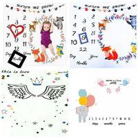 neuer karikaturfoto junge großhandel-Neue Art-Tagesmonats-Jahr-Foto-Decken-Kindermode-Meilenstein-Decken-Karikatur-Flügel-Kronen-Schießen für Mädchen und Jungen 18plH1