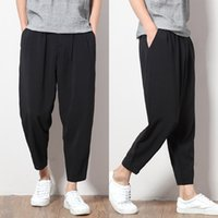 Wholesale metrosexual pants resale online - Japanese sarrouel pants nine Metrosexual loose pants pants men feet Cross Black