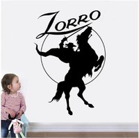 Wholesale wall rider resale online - Zorro Wall Sticker Horse Rider Vinyl Decals Home Interior Decoration Design Kids Boys Room Movie Hero Murals Wall Poster