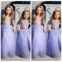 Wholesale red applique dress flower girl for sale - Group buy 2020 New Cheap Lavender Flower Girls Dresses Illusion Long Sleeves For Weddings Lace Applique Princess Birthday Girl Communion Pageant Gowns
